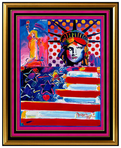 Peter Max, 'PETER MAX original signed PAINTING GOD BLESS AMERICA statue of Liberty HEAD USA', 21st Century