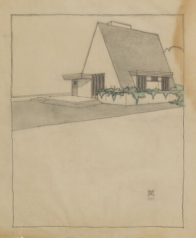 Rudolph Schindler, 'Perspective Rendering, Residence for Mrs. Laura Davies, Los Angeles, CA', 1912