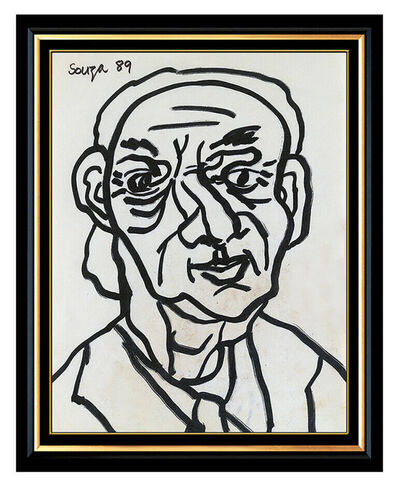 Francis Newton Souza, 'Francis Newton FN Souza Original Ink Drawing Male Portrait Signed Framed Artwork', 1989