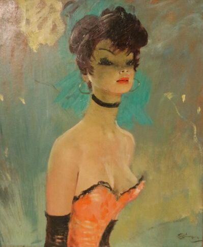 Jean Gabriel Domergue, 'Stunning Portrait by J-G Domergue, France, with Noé Willer Certificate', ca. 1950