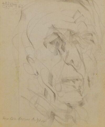 Avigdor Arikha, 'Male head study (recto), and Abstract drawing (verso)'
