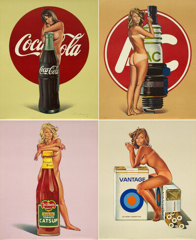 Mel Ramos, 'Tomato Catsup; A.C. Annie; Lola Cola; and Tobacco Red', 1971-1972