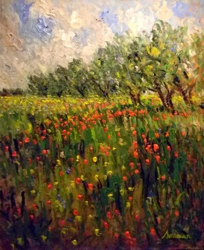 Samir Sammoun, 'Field of Poppies and Olive Trees (Oliviers et Cocquelicots) ', 2011