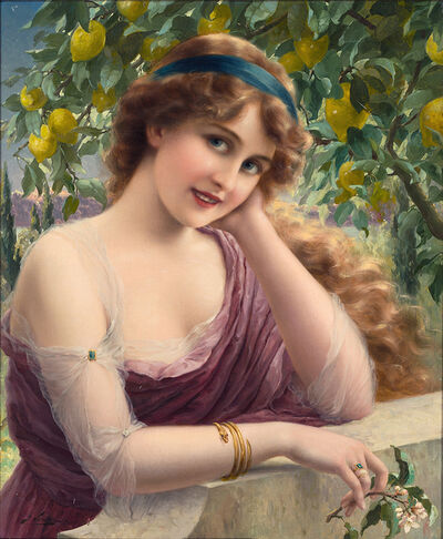 EMILE VERNON, 'Young Woman by a Lemon Tree, Oil on Canvas', 1913