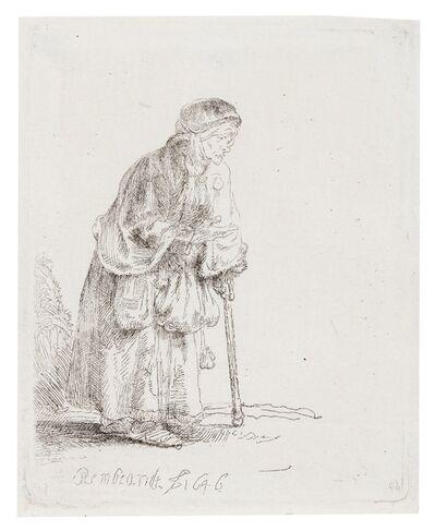 Rembrandt van Rijn, 'A Beggar Woman Leaning on a Stick', 1646