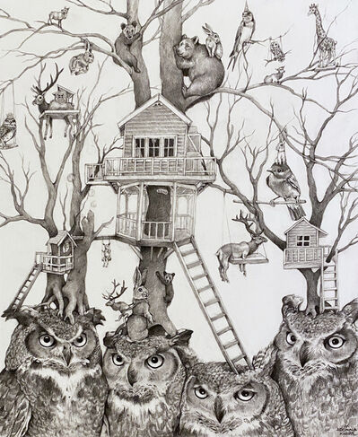 Adonna Khare, 'Owls with Treehouses', 2021