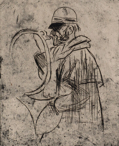 Jacques Villon, 'Man with hunting horn'