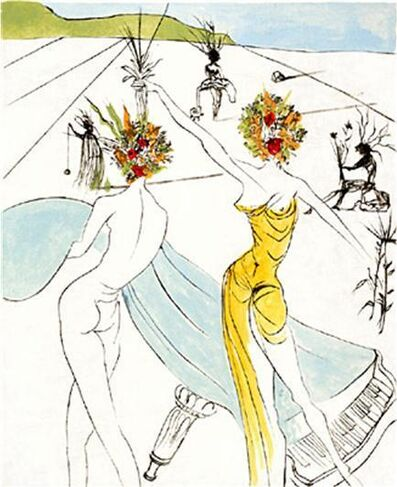 Salvador Dalí, 'Flower Woman with Soft Piano - Hippies series', 1969