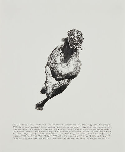 Jim Shaw, 'Untitled (Grayhound (middle): An Incompetant Man Climbs Up a Ladder)', 1993