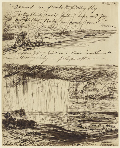 John Constable, 'Sheet of Sketches with Verses from Burns', 1832