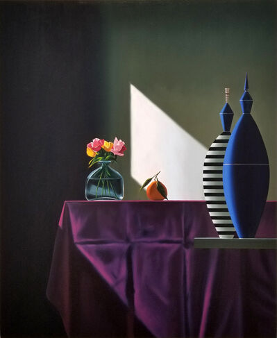 Bruce Cohen, 'Blue and Striped Vessels Next to Purple Tablecloth', 2018