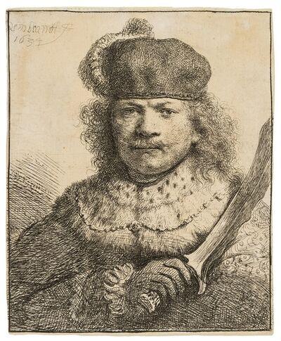 Rembrandt van Rijn, 'Self-Portrait with a Raised Sabre', 1634
