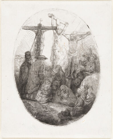 Rembrandt van Rijn, 'Christ Crucified Between Two Thieves:  An Oval Plate', ca. 1641