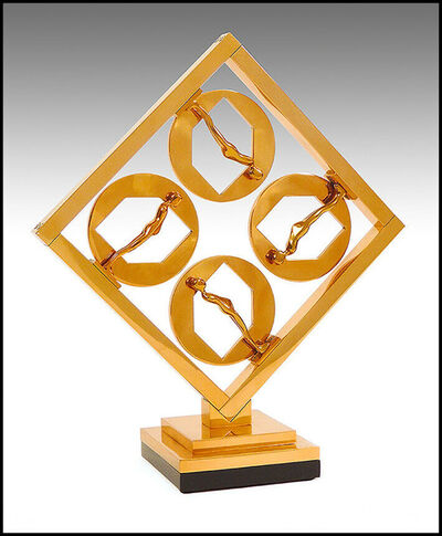Ernest Trova, 'Ernest Trova Falling Man Figures In Frame Signed Modern Bronze Sculpture Artwork', 1987