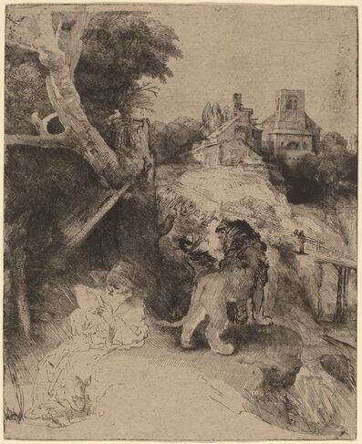 Rembrandt van Rijn, 'Saint Jerome Reading in an Italian Landscape', ca. 1653