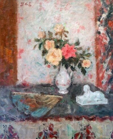 Georges d'Espagnat, ' Vase de Roses, éventail et Sphinx (Vase of Roses, fan and Sphinx)', ca. 1900