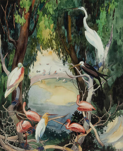Jessie Arms Botke, 'Birds at a waterhole, Flamingos, Swans, Egrets- San Diego Zoo', ca. 1930