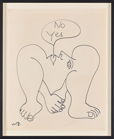 Walter Battiss, 'Untitled (No Yes, Hand over Hand, Below Profile)', 1970