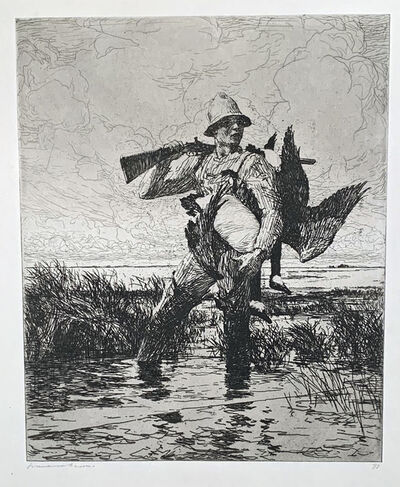 Frank Weston Benson, 'MARSH GUNNER', 1918