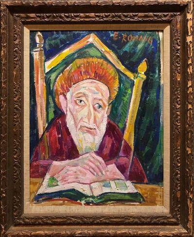Emanuel Romano, 'Modernist Oil Painting 1940s, Judaica Hasidic Rabbi in Jerusalem', 1970-1979