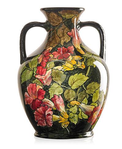 John Bennett, 'Two-handled urn with trumpet vine, New York', 1882