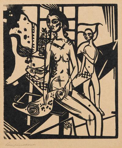 Heinrich Campendonk, 'Interieur mit zwei Akten, plate 1, from Die Schaffenden, vol. I, no. 2 (Interior with Two Nudes, from The Creatives)', 1918