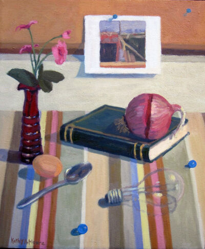 Kathy A. Moore, 'RED VASE, STRIPED CLOTH WITH ONION', 2018