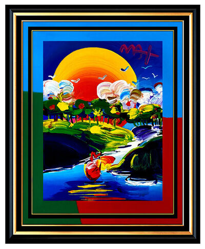 Peter Max, 'PETER MAX Original Signed PAINTING WITHOUT BORDERS Pop ART Acrylic Oil Sailing', 21st Century