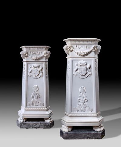 Lorenzo Bartolini, 'Pair of Neo-classical carved marble pedestals', ca. 1825