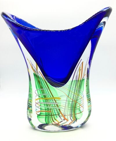 Massimiliano Schiavon, 'Glass Vase - V shape, Blue with Green and Gold Design.', 2017