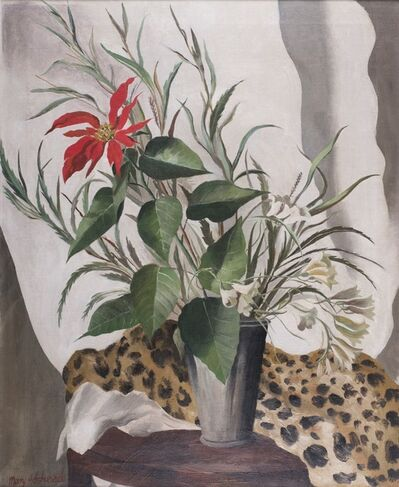 Mary Adshead, 'Still life of red lily with leopard skin', ca. 1935