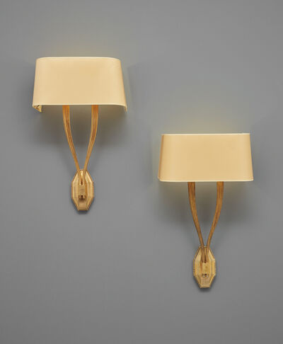 "Émile-Jacques Ruhlmann, 'Pair of ""Antilope"" wall lights, model no. 3033 AR/3666 NR', circa 1928"