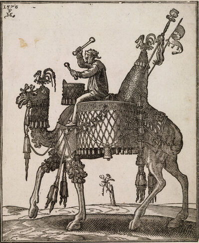 Melchior Lorch, 'A kettledrum player riding a camel In profile to left; the camel with ornate saddle and bridle from which bells are dangling', ca. 1576