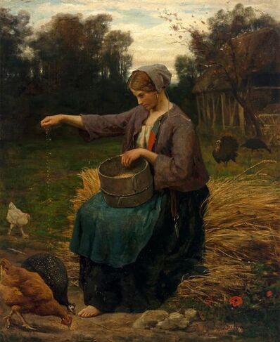 Jules Breton, 'Jeune Femme Nourrissant ses Volailles', 1860