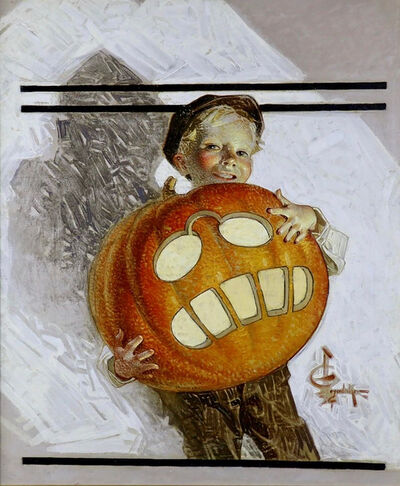 Joseph Christian Leyendecker, 'Boy Holding Pumpkin Carving of Teddy Roosevelt, Saturday Evening Post Cover', 1912