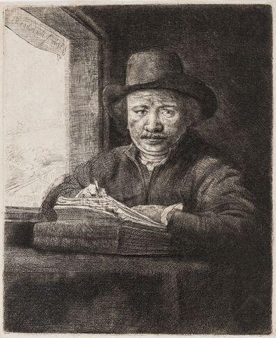 Rembrandt van Rijn, 'Self-Portrait etching at a Window'