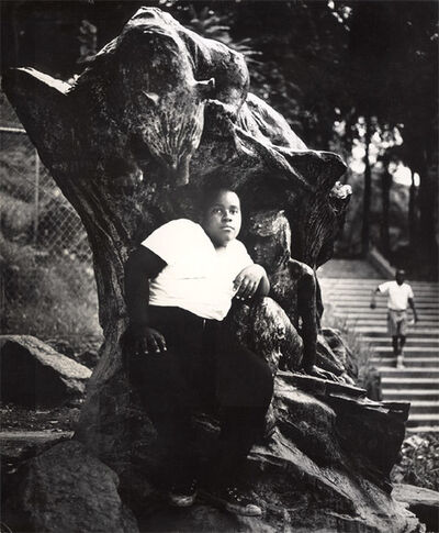 Arthur Tress, 'In an Old Bronze Statue a Negro Youth Sits in Morningside Park, NYC', 1969/1969