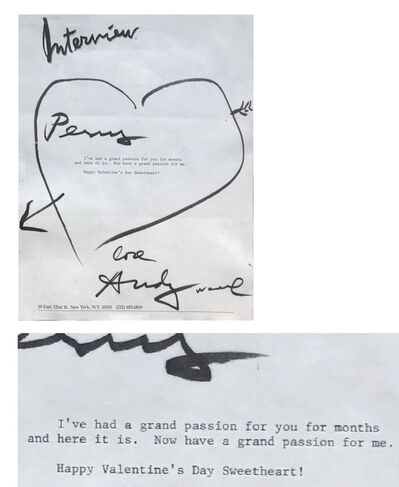 "Andy Warhol, '""To Perry Ellis- Happy Valentine's Day Sweetheart!"", 1980's, SIGNED Letter/Envelope with Heart Drawing, UNIQUE & RARE', 1980's"