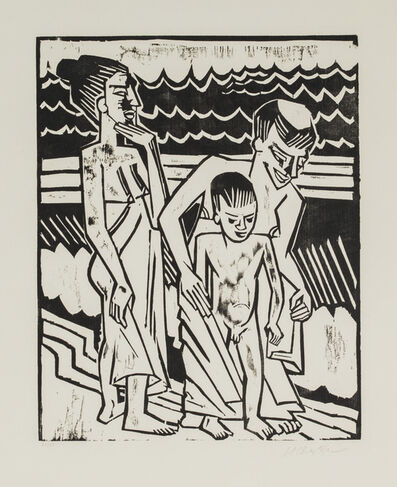 Max Pechstein, 'Bathers with Child', 1920