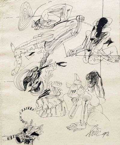 "Sunil Das, 'Ink on Thick Paper by Padma Shree Artist Sunil Das ""In Stock""', 1993"
