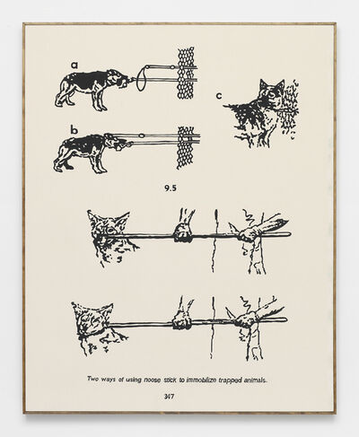 Brad Troemel, 'Tips for immobilizing TRAPPED ANIMALS when setting them FREE -- from Direct Action Guide (Proceeds go to ELF, Greenpeace, Planned Parenthood) Support ETHICAL treatment (NUDE SERIES)', 2014
