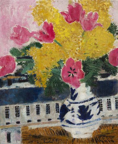 Andre Brasilier, 'Tulipes et mimosa en bouquet', s.d.