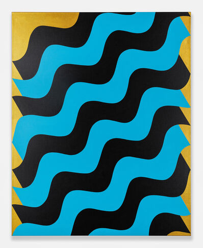 Mohamed Melehi, 'Moucharabieh, Blue on Black', 2020