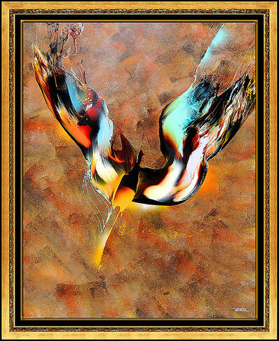 Leonardo Nierman, 'Leonardo Nierman Original Oil Painting On Board Large Abstract Bird Signed Art', 20th Century