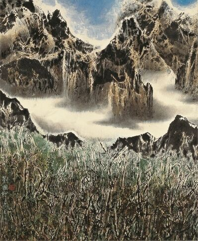Liu Kuo-sung 刘国松, 'Cloud-girdled Mountains 白雲鎖山腰', 2007