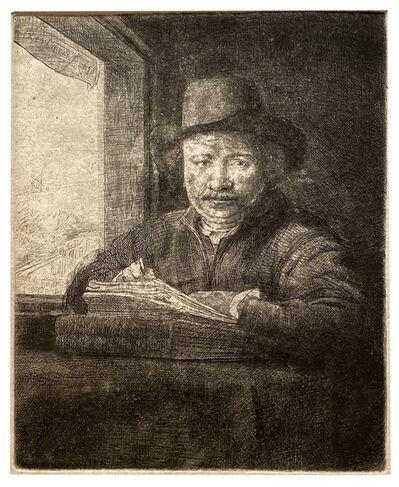Rembrandt van Rijn, 'Self-Portrait etching at a Window', 1648