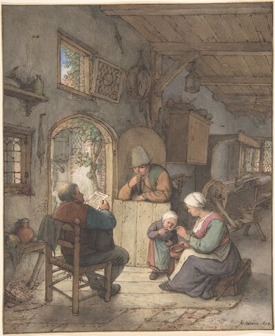 Adriaen van Ostade, 'Reading the News at the Weavers' Cottage', 1673