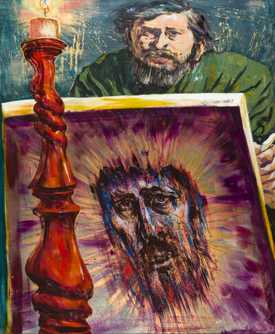 Fritz Aigner, 'Selbstporträt mit großem Christusbild / Self portrait with a big picture of Christ', 1970