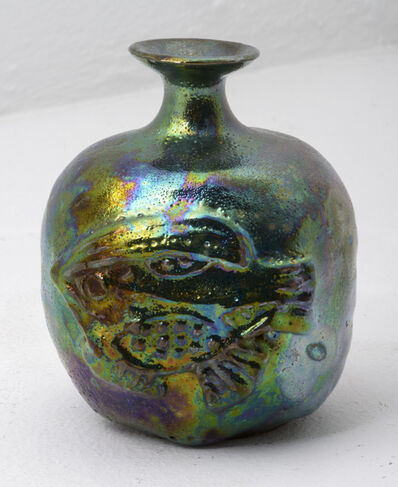 Beatrice Wood, 'Blue Green Lustre Bottle with Fish', 1970