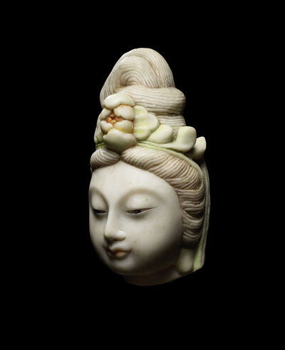 Unknown Chinese, 'A Hebei white marble carving of the head of Guanyin 河北漢白玉觀音頭像', 1801-1900